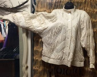 Coat, Silk, Dalman sleeve coat, cream, Perlita, urban, boho, zippered coat