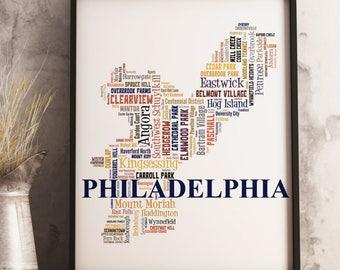 Philadelphia Map Art, Philadelphia Art Print, Philadelphia Neighborhood Map, Philadelphia Typography Art, Philadelphia Word Cloud Poster