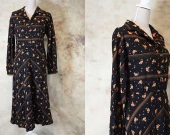 70s Floral Hippie Dress, Wedding Guest Dress, 1970 Boho Dress, Floral Print Dress, Vintage Black Dress, size M, Medium