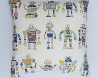 Kids cushion cover with a friendly robot design