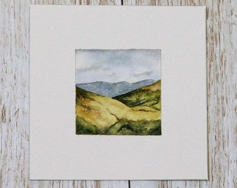Miniature watercolour painting of Scotland, hills and mountains, nature, travel, watercolor, landscape