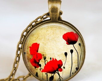 Red poppies vintage necklace , Poppies pendant , poppies charm jewelry ,flower jewelry,  spring flower gift idea for friends , family