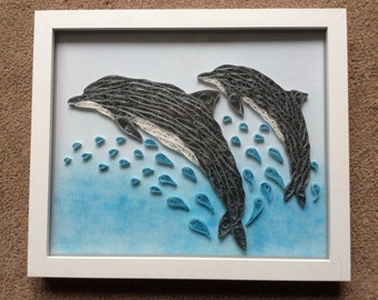 Dolphins, quilled box framed picture 34x28cm
