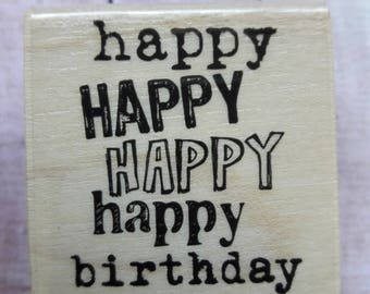 Happy Happy Happy Happy Birthday Wood Mounted Rubber Stamp Scrapbooking & Paper Craft Supplies