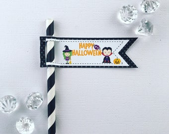 Halloween straw/pencil flags