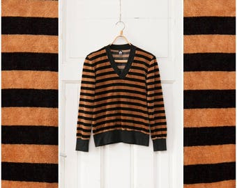 Vintage Velour Sweater 90s Velour Top Womens Small Striped Sweatshirt Black Brown Stripy Jumper V neck Sweatshirt Velvet V-neck Top S