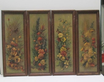 4 Wood Framed Floral Pictures Rustic Wooden Wall Hangings Vintage Flowers Grouping Set Cabin Farmhouse Botanical Prints