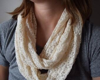 Cream Lace Infinity Scarf - Beautiful Ivory Geometric Lace Cowl Circle Scarf
