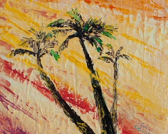 "Original Painting Morning Palms ""Snippets Series ""Sunrise Silhouette No. 2"", 6"" x 6"" (15cm x 15cm) Oil on Canvas Palette Knife"