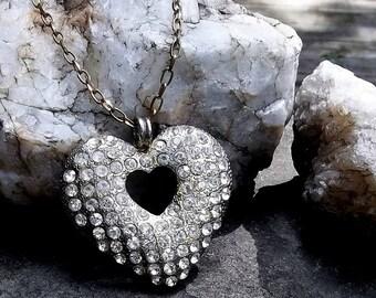 Vintage Rhinestone Heart Pendant, Adjustable Chain