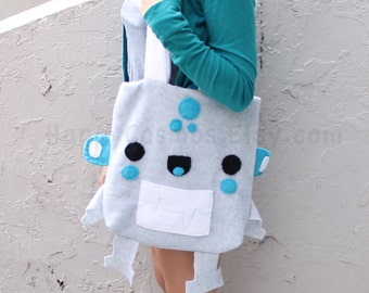Robot Tote Bag - Schoolbag, Backpack, Bookbag, Reusable Bag, Beach Bag, Halloween Trick or Treat Bag, Women's Tote, Christmas Gift