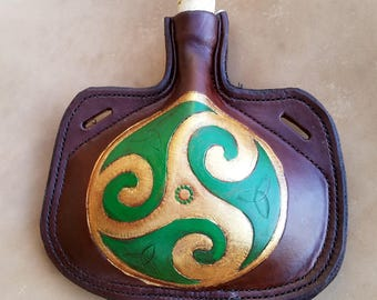 Leather Bottle - Irish Triskel Hand Tooled Hand Stitched Small Leather Flask - Renaissance Medieval Water Canteen