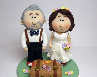 Wedding cake topper, with Suitcase, Personalised bride and groom Cake topper, custom wedding,