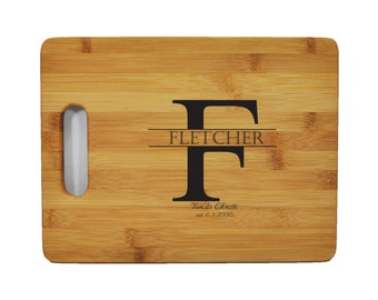 "Personalized Bamboo Cutting Board - Wedding - Anniversary - Special Occasion - 11.5""x8.75"" - 9/16"" Thick -  Eco friendly - Renewable"