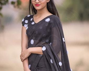 Black Forest Black Pure Silk-Chiffon Embroidered Saree