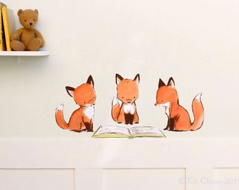 Fox Nursery Art, book art, Foxy Book Club, fabric wall decal, removable and reusable, Kit Chase artwork