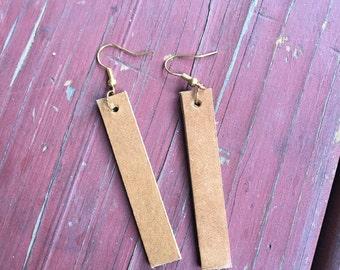 leather strip earrings // camel