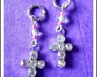 Hearing Aid Charms:  Beautiful Jeweled Crosses (also available in matching Mother Daughter Sets)!