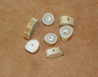 Antler Beads, Natural Whitetail Deer Antler Bone Beads, Woodland Style Country Crafting Natural Beads, Eco-Friendly, Deer Antler Beads, Bone