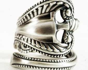 Victorian Ring, Sterling Silver Spoon Ring, Silver Swirl Ring Wide Wedding Ring, Wrap Ring, Adjustable Ring Towle Sterling Old Colonial 5843
