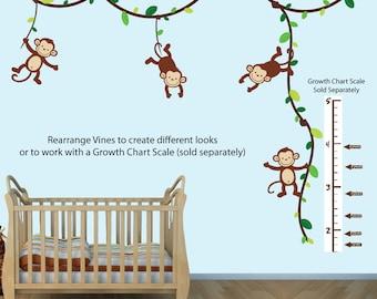 Monkey Wall Decal Growth Chart, Swinging Monkeys on Vines, Nursery Wall Decal Art (GreenBrown_Growth), MVDG