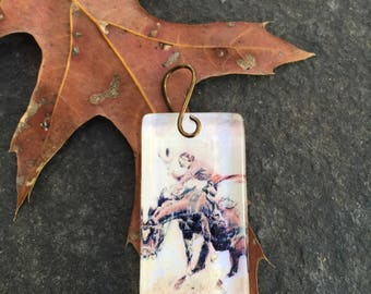 Wild West Bronco Glass Tile Pendant  Horse  Western Romance  Vintage Western Pendant