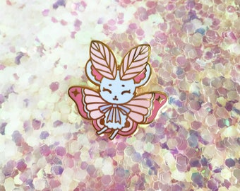 Pink Cotton Candy MouseMoth Gold Hard Enamel Pin