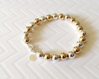 Two tone beaded bracelet / silver and gold beaded bracelet / gold filled beaded bracelet / 8mm beaded bracelet
