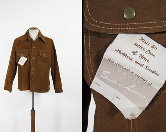Vintage 70s Suede Jacket NOS Brown Leather Metal Snap JC Penney - Size 46