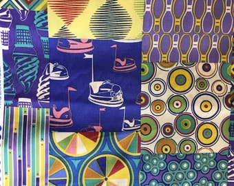Asbury designed by Thomas Knauer for Andover Fabrics Inc Patt 5844 Cotton Fabric by the Yard Purple Penny Arcade fair yellow ice bumper cars
