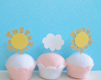 Sun Cup Cake Topper, Cloud cupcake topper, summer cupcake topper, summer party, sunhine cupcake topper, baby shower cupcake topper