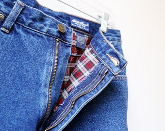 Flannel Rolled High Waisted Denim Jeans