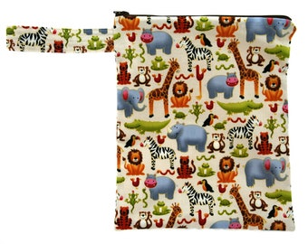 Fabric zippered pouch/bag, Jolly jungle animals. Six different sizes to choose from.