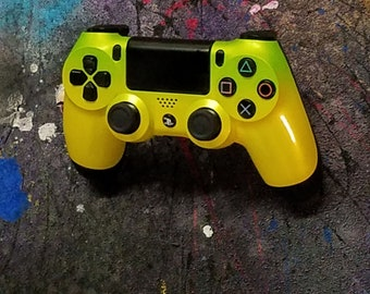 Pineapple Yellow with Metalic Green Fade PS4 Controller
