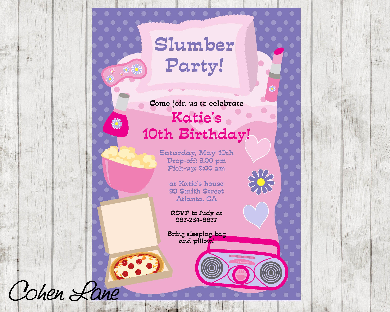 Pajama Party Invitation. Sleepover Party Invite. Slumber Party
