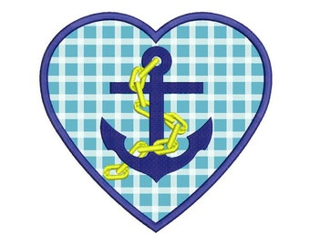 Applique Heart with Anchor Machine Embroidery Design - 5 Sizes