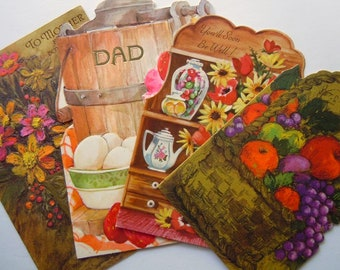 Vintage Die Cut Flowers and Fruit Retro Greeting Cards Lot
