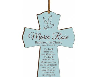 """Personalized Baptism Cross, Confirmation Cross, First Communion, """"The Lord bless you and keep you; The Lord make His face shine upon you..."""""""