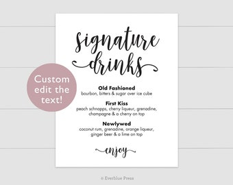 Signature Drinks Bar Sign Editable Template | 8x10 5x7 Instant Download | Wedding Bar Table Printable, Signature Cocktails, Black Navy Gray