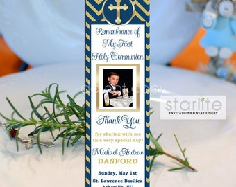 Navy and Gold First Communion Favors Boy | 1st Communion Book Mark Favors | Chevron | Printed Bookmarks | Printable Bookmark Favors
