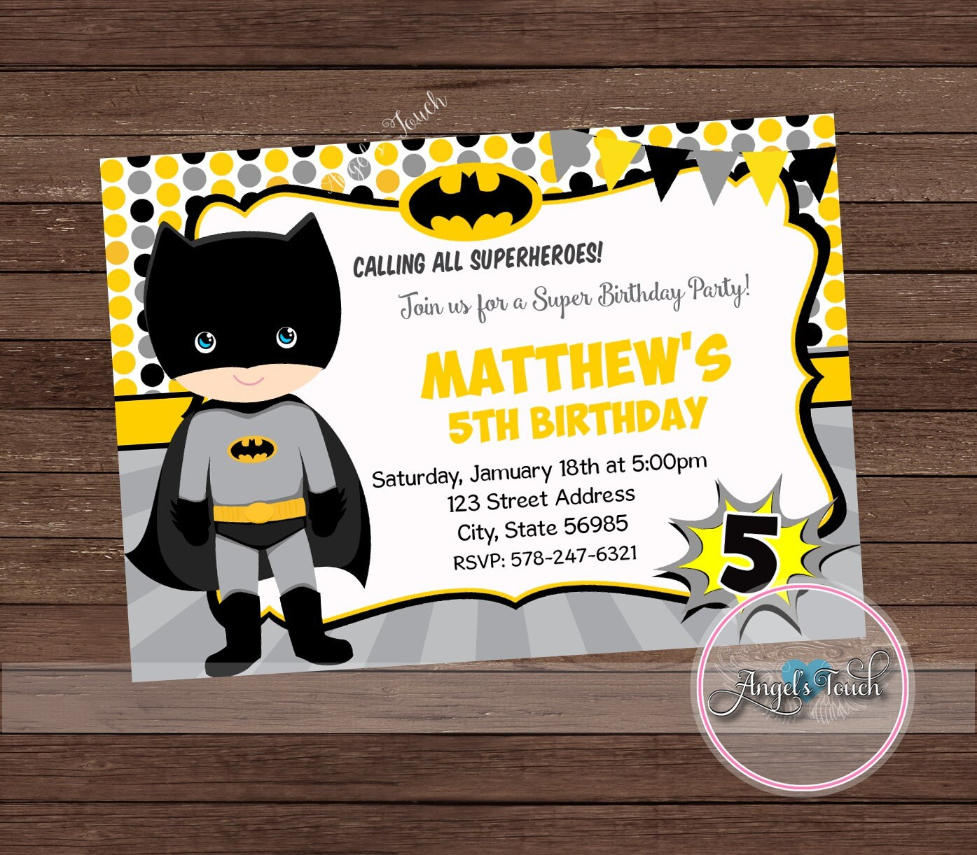 Superhero Batman Party Invitation, Batman Invitation, Batman Boy ...