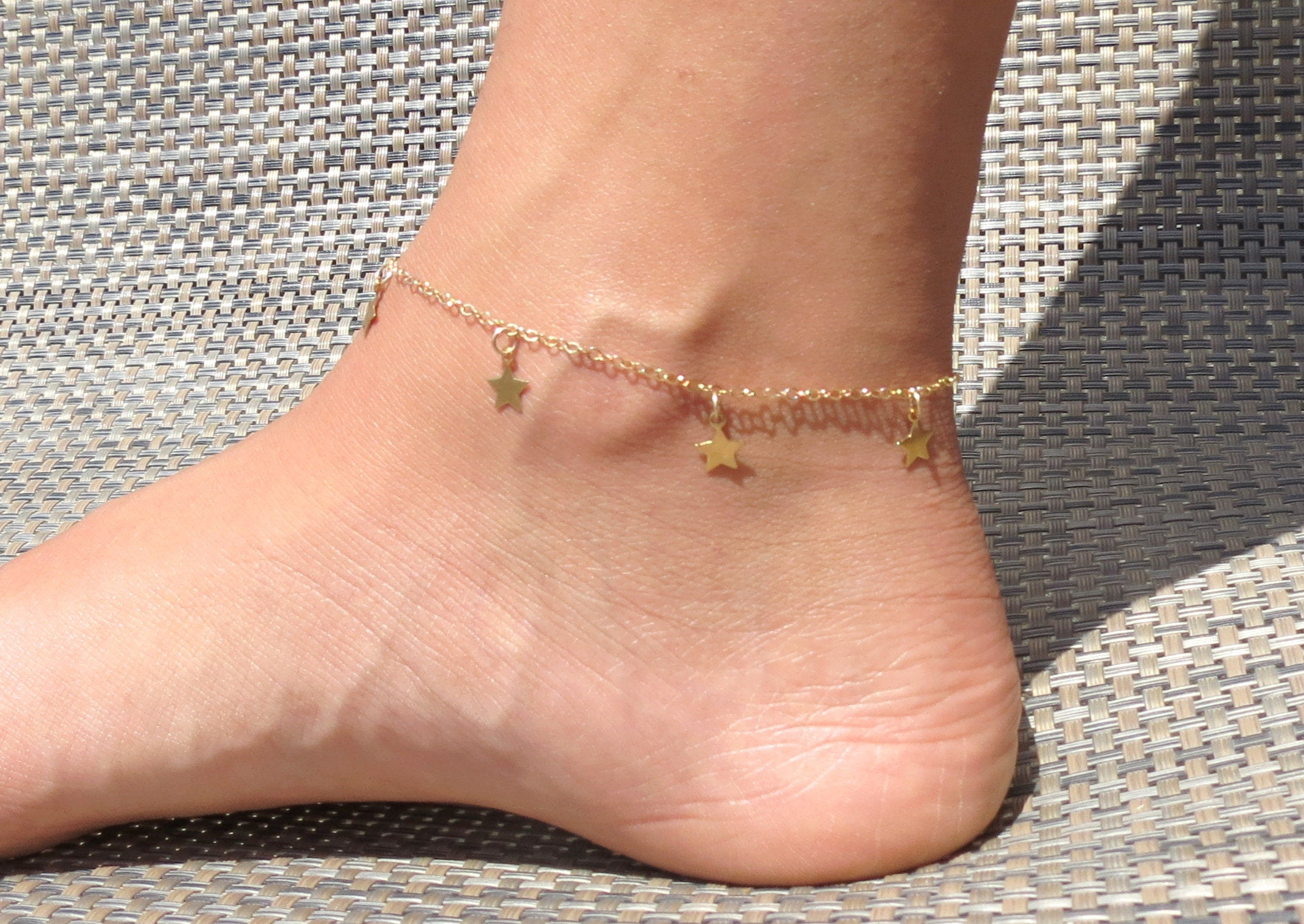 gold plated charms made new steel charm heart chain bracelet itm ankle rose bracelets stainless of with anklet foot