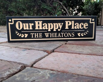"14""x 4"" Our Happy Place Sign, Family Name Plaque, Housewarming Gift, Anniversary Gift, Wedding Gift, Newlyweds Gift, Christmas Gift"