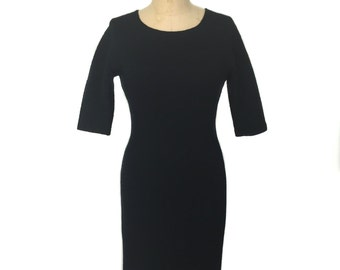 vintage 1950's black wiggle dress / Henning Lund & Co. / textured wool / knit bodycon dress / women's vintage dress / tag size 12