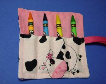 Mini Crayon Keeper 4-Count Roll Up Holder Party Favor - Miss Moo Moo Cow