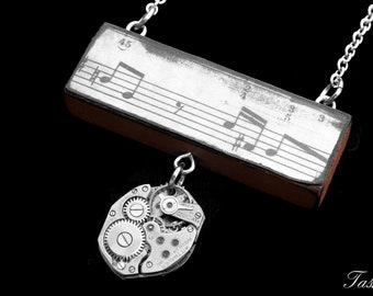 Steampunk Wooden Sheet Music Pendant Necklace, Vintage Long Silver Watch Movement Pendant, Boho Jewelry