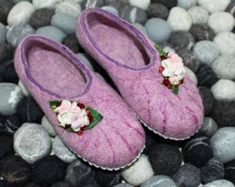 Pink shoes, women's slippers with Leather soles, winter home shoes,  felted wool slippers, Mother's day gift