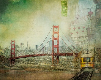 San Francisco Mixed Media Art, Original Golden Gate Bridge Art Collage, San Francisco Print, SF Urban Photography Collage - Suspension