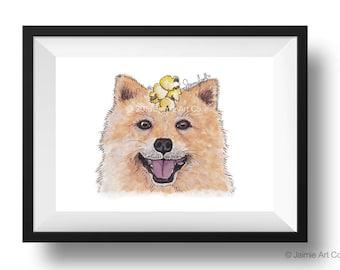 Dog Art Print - Pomeranian and Popcorn, Childrens Art, Kids Wall Art, Frameable Art, Animal Wall Art, Dog Art, Dog Portrait, Pet Art
