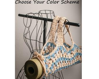 Yoga Mat Bag, Granny Square - Made to Order, Custom, Color Choice Original HH Design